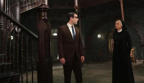 Zachary Quinto as Dr. Oliver Thredson, Jessica Lange as Sister Jude.